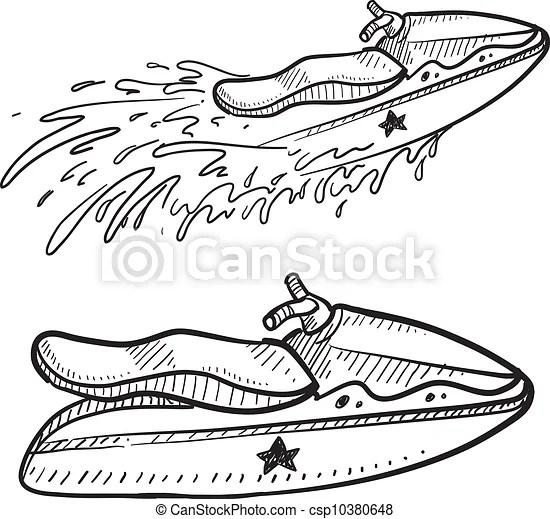 Jet ski sketch. Doodle style jet ski illustration in