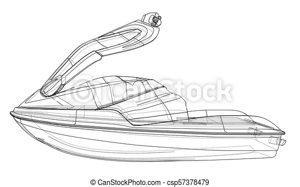 Jet ski sketch. vector rendering of 3d. wire-frame style