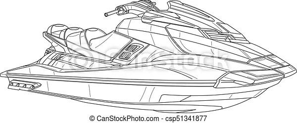 Jetski. Technical illustration.