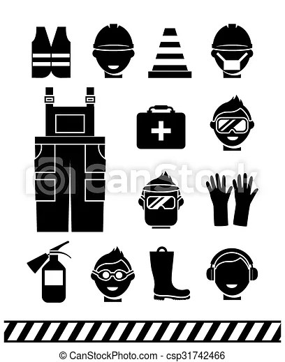 Job safety black icons. personal protective equipment. Job