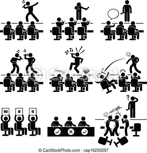 Judges audition singing talent show. A set of pictograms