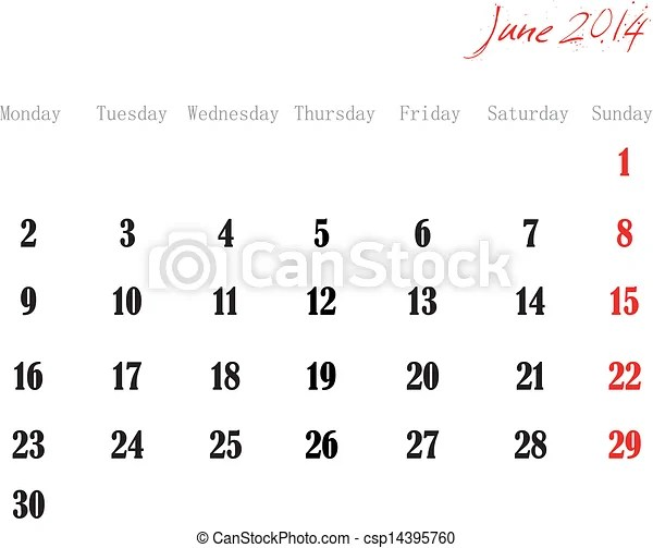 June 2014. Design of a calendar month of june 2014 in english.