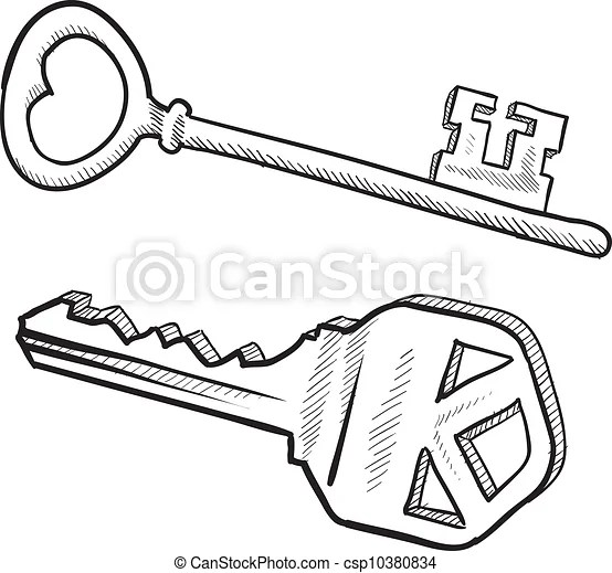 Key sketch. Doodle style antique lock and key illustration
