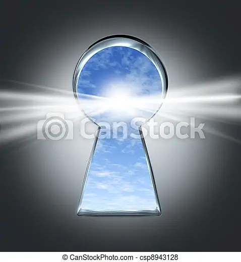 Key to success. Key to success with an open keyhole to a bright future with a blue sky and clouds as an opportunity concepy for a new business or ...