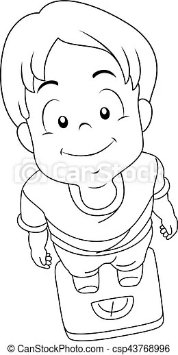Kid boy weighing scale coloring page. Coloring page