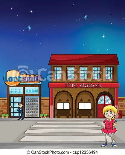 Fire Station Clipart : station, clipart, Locksmith, Station., Illustration, Standing, Before, CanStock