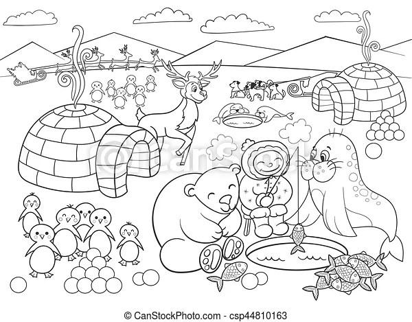 Kids coloring north pole vector illustration. North pole