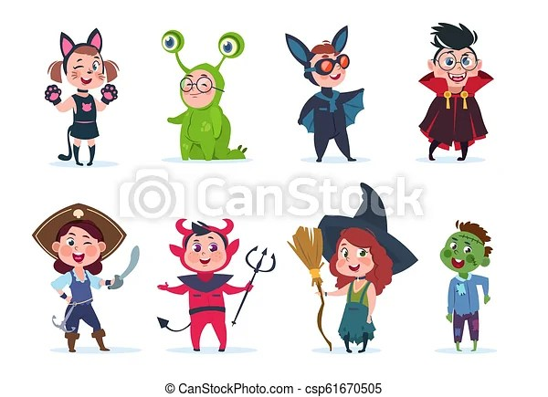 Kids Halloween Costumes Cartoon Cute Baby At Halloween Party Festival Cartoon Vector Characters Costume For Child Witch