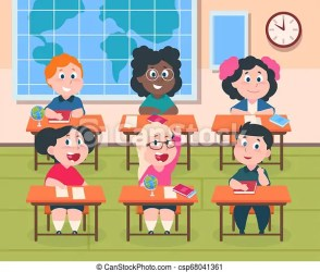 Kids in classroom cartoon children in school studying reading and writing cute happy girls and boys vector pupil CanStock