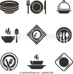 kitchen vector plates symbols silhouette chef cooking restaurant cutlery clipart icons cook emblems isolated illustration icon eps drawing utensil clip
