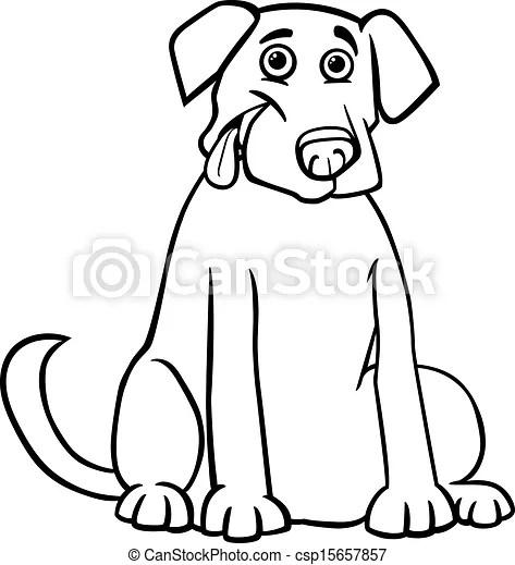 Labrador retriever cartoon for coloring book. Black and