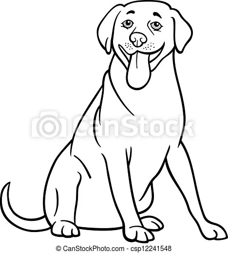 Labrador retriever dog cartoon for coloring. Black and