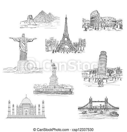 Illustration of worlds famous landmarks, tourist's travel