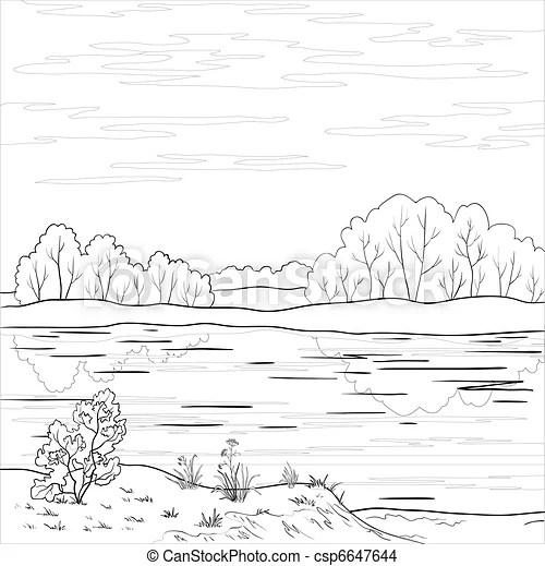 Landscape. forest river, outline. Vector, landscape