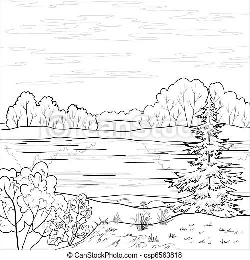 Landscape. forest river, outline. Landscape: forest, river