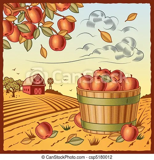 landscape with apple harvest. retro