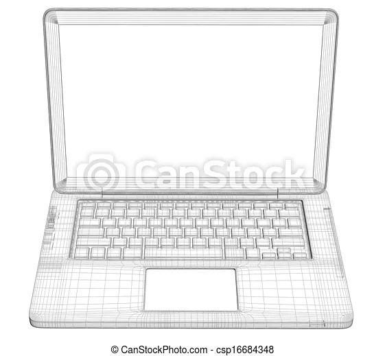 Laptop. wire frame. isolated render on a white background.
