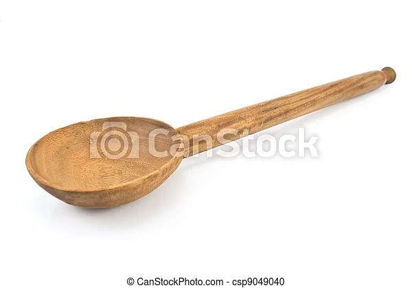 Large wooden spoon isolated on white.