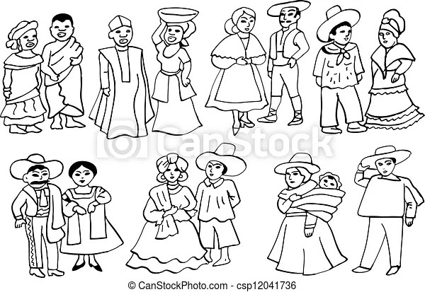 latin american national costumes. Graphic illustration of
