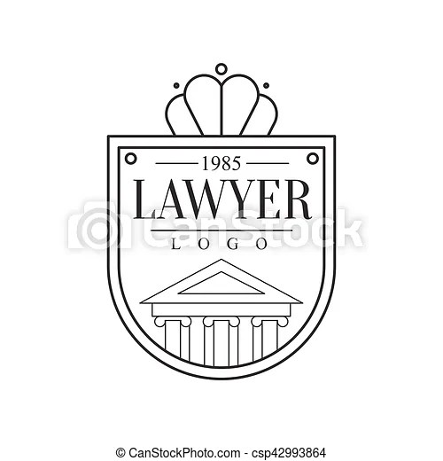 Law firm and lawyer office black and white shield shaped