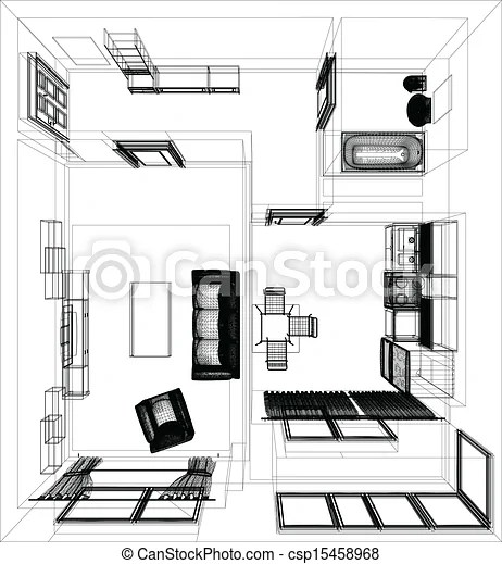 Layout of the apartment. wire-frame render on white