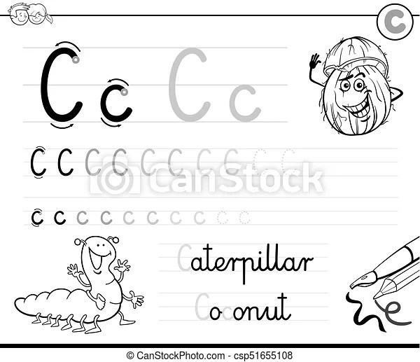 Learn to write letter c workbook for kids. Black and white