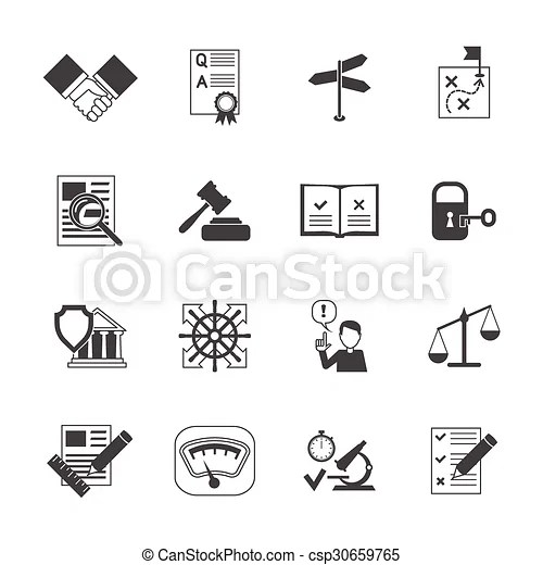 Legal compliance icons set. Legal compliance terms