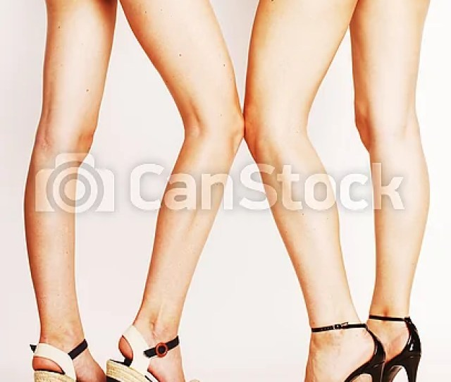 Legs Of Young Women Pair Of Butts In Jeans Shorts Csp41319984