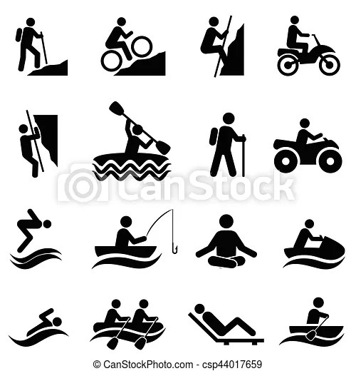 Leisure and recreational activities icons. Leisure and