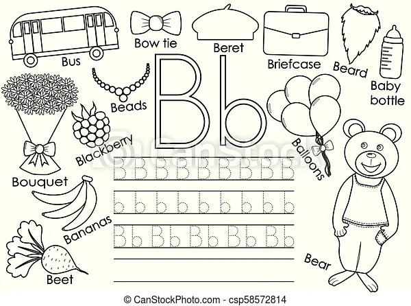 Letter b. english alphabet. writing practice for children
