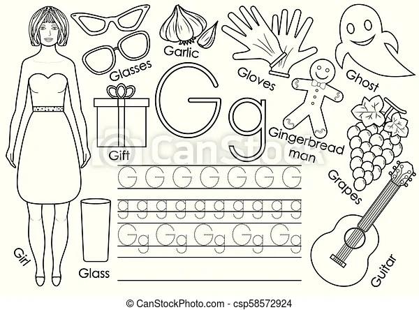 Letter g. english alphabet. writing practice. educational