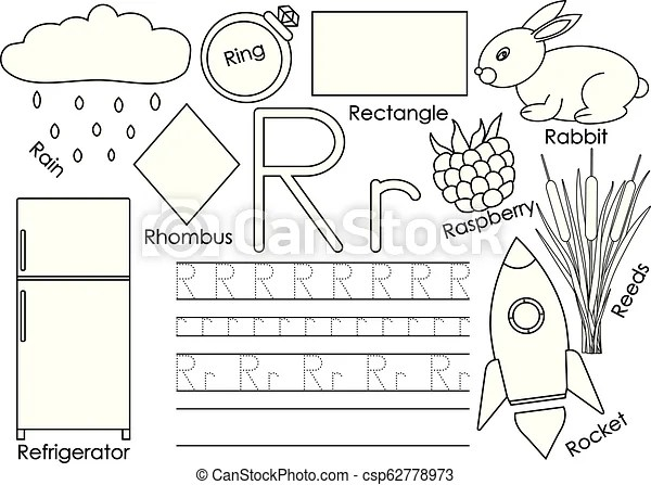 Letter r. card with pictures and writing practice for