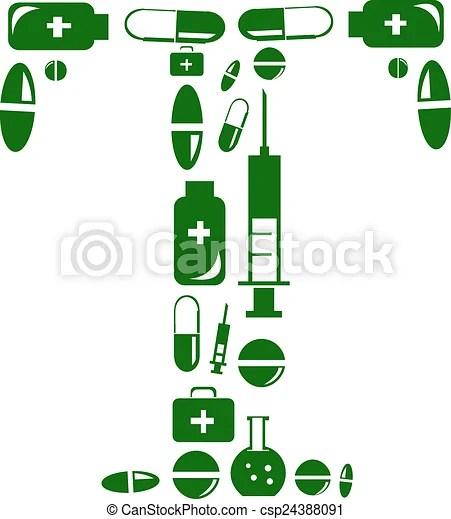 Letter t alphabet of medicine pills.