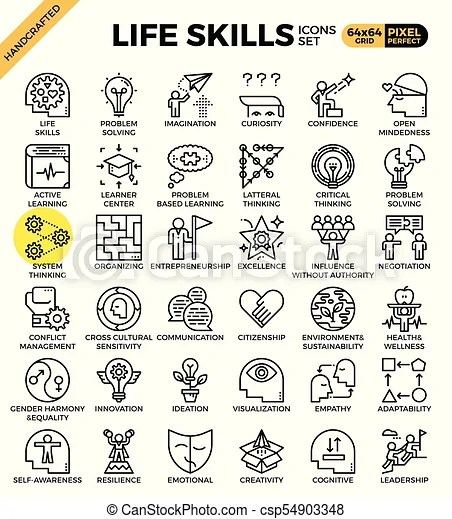 Life skills concept icons set in modern line icon style