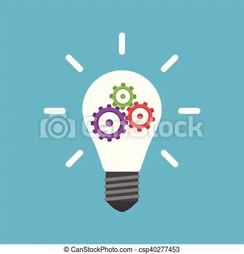 lightbulb with gears inside