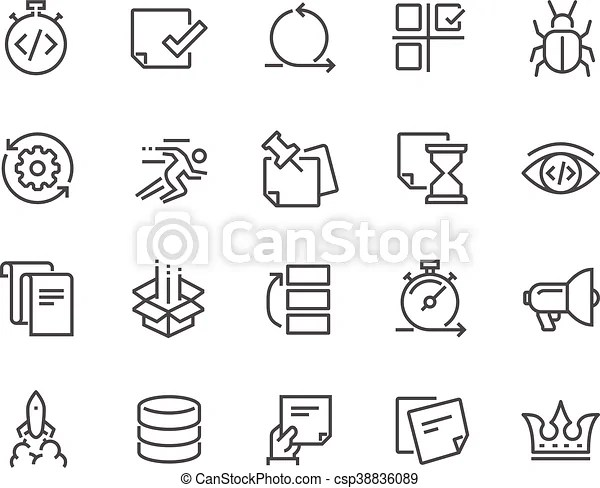 Line agile development icons. Simple set of agile