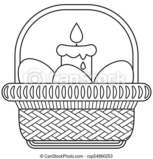 Line art black and white easter egg candle wicker basket