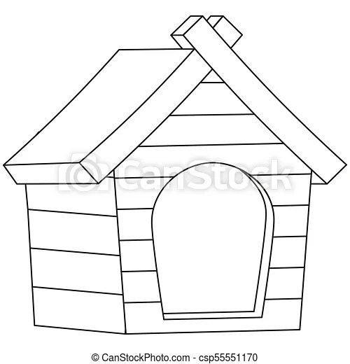Line art black and white pet house icon poster. pet care