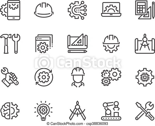 Line engineering icons. Simple set of engineering related