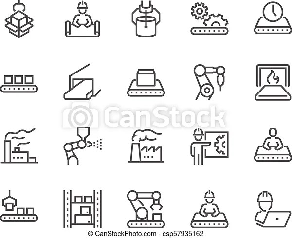 Line mass production icons. Simple set of mass production