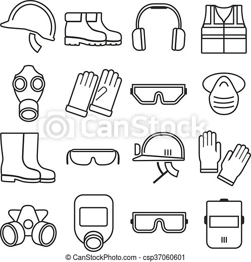Linear job safety equipment vector icons set. equipment