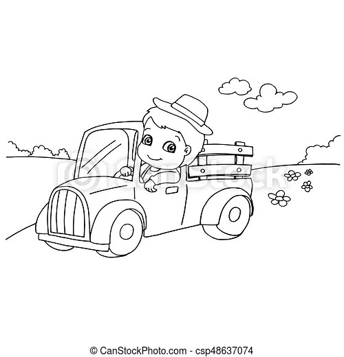 Little boy driving a toy car coloring page vector vectors