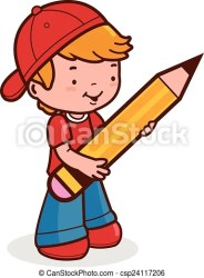 boy student clipart pen pencil holding cute vector drawing illustration clip drawings library cliparts artwork getdrawings line canstockphoto graphics