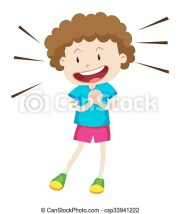 little boy with curly hair illustration