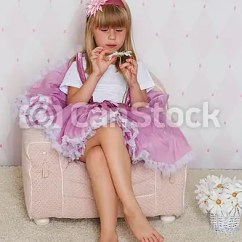 Little Girl Chairs Reclining Chaise Chair Is Sitting On A Princess Csp21853475