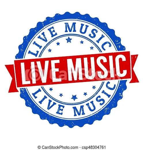 live music sign stamp white