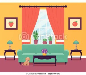 living interior vector illustration cartoon background window furniture flat dog drawing outline lounge equipment clipart clip linear eps