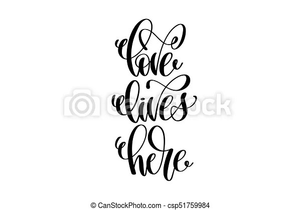 Download Love lives here hand written lettering positive quote ...