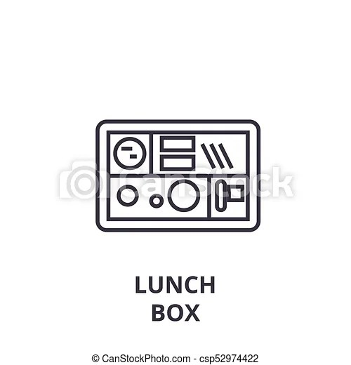 Lunch box line icon, outline sign, linear symbol, vector