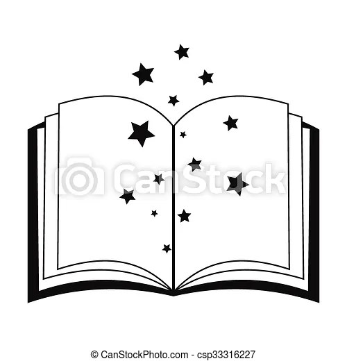 Magic book of spells open black simple icon isolated on